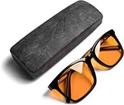 THL Blue Light Blocking Reading Glasses for Better Sleep - Amber Orange Computer Filter Anti Eye Strain - Health Lists Extra Large Frame (Black) XL