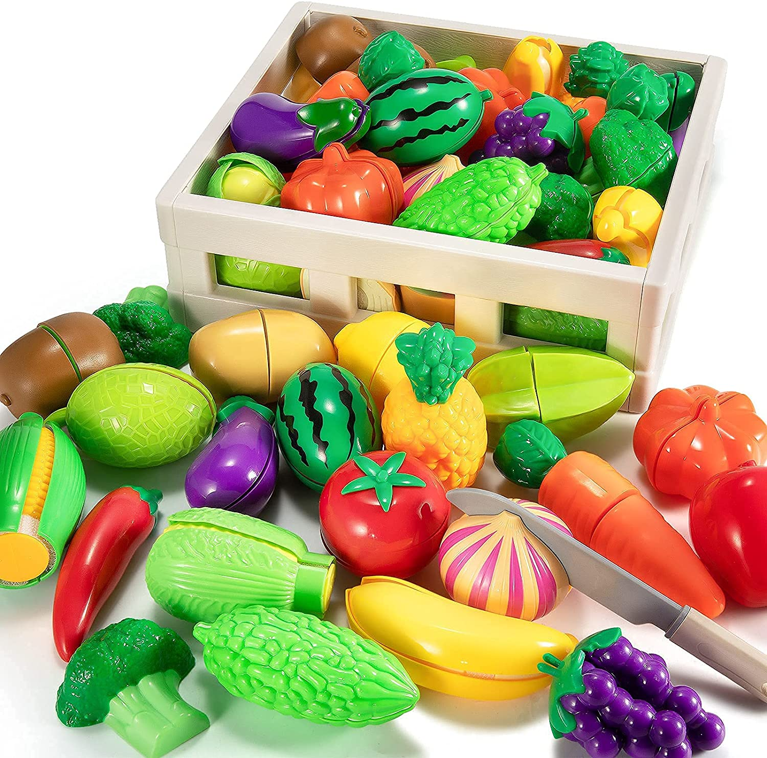 TEMI Cutting Play Food Toy for Kids Kitchen, Pretend Fruit and Vegetables Accessories with Storage Case, Map and Knife, Educational Toy for Toddler Children Birthday Gift