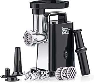 STX Turboforce Scout Electric Meat Grinder & Sausage Stuffer - Grinds 60 Lbs Plus Per Hour - 3 Grinding Plates, 3 S/S Blades, Sausage Stuffing Tube & Kubbe Maker -