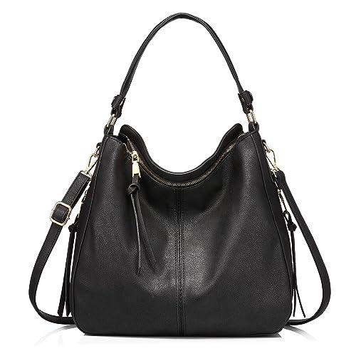 54e12d3e187 Black Leather Bucket Handbag: Amazon.co.uk