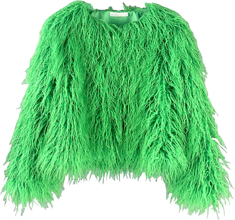 Adonis 即納送料無料! Pigou Winter Fluffy Faux セール特価品 Fur Women's Jacket Coat L Shaggy