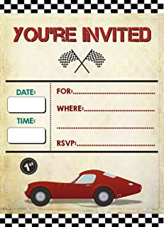 Vintage Car Invitations 20 pcs for Birthday Party Rustic, Guests at Wedding, Engagement, Anniversary, Baby Shower, Bridal, Weddings Invite Cards, Car Shows Events