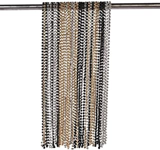 Gold, Black and Silver Bead Necklaces (set of 48) Bulk Mardi Gras Supplies