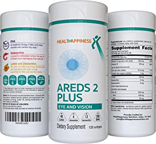 AREDS 2 Eye Vitamins for Macular Degeneration - Lutein 40mg with Zeaxanthin, Astaxanthin 12mg & DHA 200mg f...