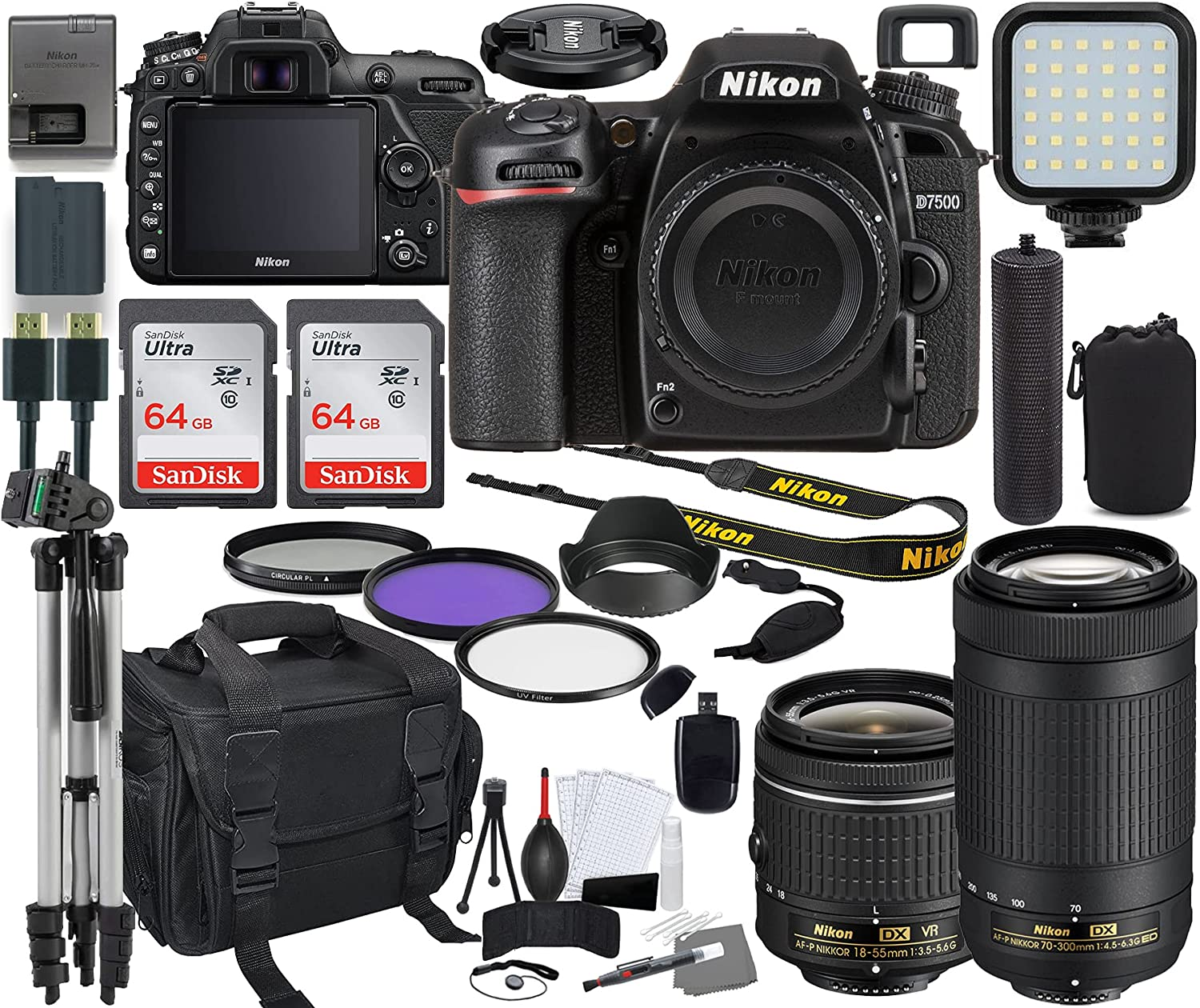 Ranking Special price TOP20 Nikon D7500 DSLR Camera with 18-55mm Lens Bundle VR + 70-300mm