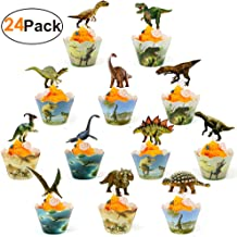 Dinosaur Cupcake Wrappers And Toppers Dinosaur Cupcake Cups 24 Pack Jurassic World Party Supplies Boys Kids Dino Party Sup...