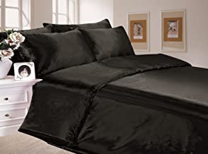 6pc Satin Bedding Black Double Duvet Cover Set (inc 1 duvet cover,1 fitted sheet,4 pillowcases)