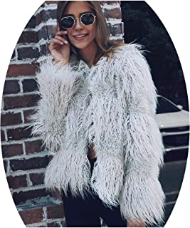 f7fbb2bfc4101 ROMOO Women s Open Front Faux Fur Coat Winter Outwear Jackets Vintage Parka  Shaggy Jacket Cardigan