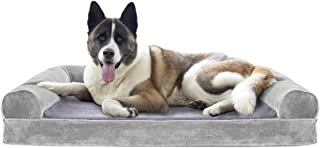 Furhaven Pet Dog Bed   Cooling Gel Memory Foam Orthopedic Faux Fur & Velvet Sofa-Style Couch Pet Bed for Dogs & Cats, Smok...