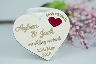 Wooden Heart Save the Date Magnets Engraved Wedding Favors 50Pcs