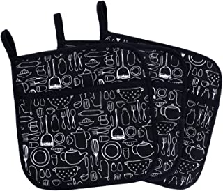 Lifaith 100% Cotton Kitchen Everyday Basic Terry Pot Holder with Pocket Heat Resistant Coaster Potholder for Cooking and Baking 8 x 8-Inch Set of 3 3 Black