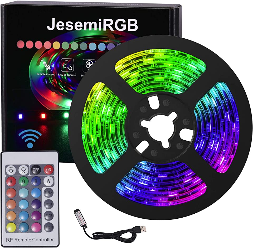USB LED Strips Lights RF Remote Control 6.56ft/2M Suitable for 40-60 inch TV Kit DIY Indoor Kitchen Christmas Decorations PC Monitor
