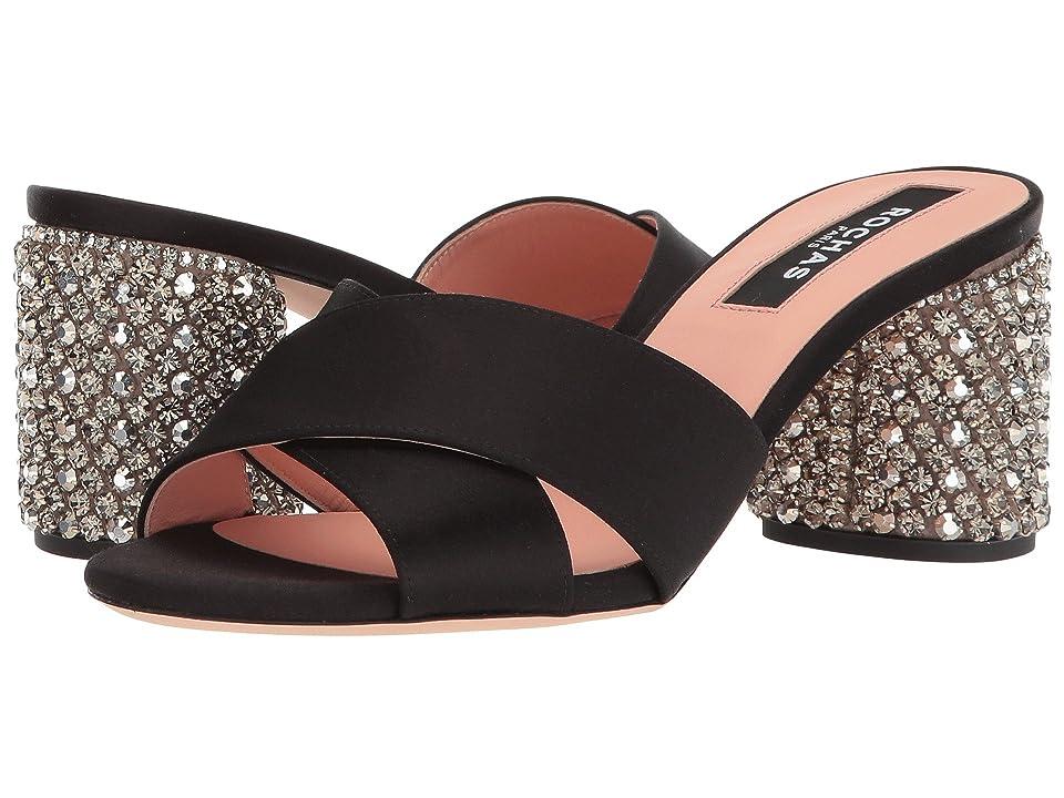 Rochas RO30072-07045 (Raso Nero/Ricamo Silver) High Heels