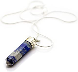 Raw Lapis Lazuli Crystal Pendant Necklace –Success Intuition Self Expression Natural Stress Aid Soothe Mind Emotions - Authentic Stone on Silver Plated 18