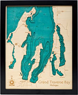 Tims Ford Lake - Franklin County - TN - 3D Map 14 x 18 in (Black Frame with Glass) - Laser Carved Wood Nautical Chart and Topographic Depth map.
