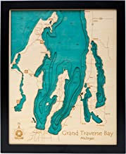 Lake Lillinonah - Fairfield County - CT - 3D Map 14 x 18 in (Black Frame with Glass) - Laser Carved Wood Nautical Chart and Topographic Depth map.