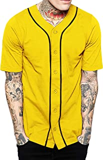 Hat and Beyond Mens Baseball Button Down Jersey Hipster Hip Hop T Shirts