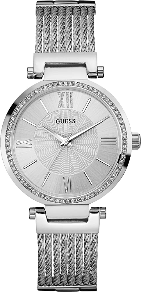 Guess  orologio per donna, ladies dress,in  acciaio inossidabile e cristalli W0638L1