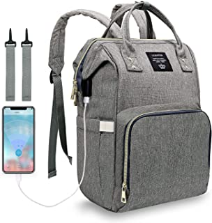 Diaper Bag Backpack, LEQUEEN Waterproof Stylish Multifunction Large Capacity Travel Back Pack Maternity Baby Nappy Changing Bags with USB Charging Port (Gray)