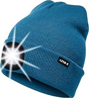 ATNKE LED Verlichte Beanie Cap, USB Oplaadbare Running Hat Ultra Bright 4 LED Waterproof Light Lamp en Knipperend Alarm Ko...