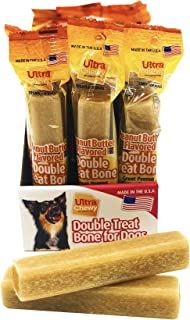 Ultra Chewy: Double Treat Bone - Peanut Butter Flavor - Dog Treats - Highly Digestible Rice Base - Promotes Plaque and Tartar Control - Perfect for Training - Two-Year Shelf Life