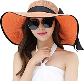 White Monbedos Ladies Big Bowknot Straw Hat beach Sun Protection Hat Outdoor Wide-brimmed Straw Hat size 56-58cm