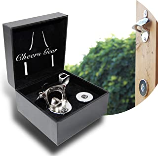 Magnetic Bottle Opener Wall Mounted   This Premium Beer Opener is the is perfect gift for men, it comes with a leather box, a N52 magnetic cap catcher, and a complimentary ring opener