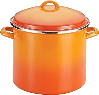 Rachael Ray Enamel on Steel 12-Quart Covered Stockpot, Orange Gradient - 59025
