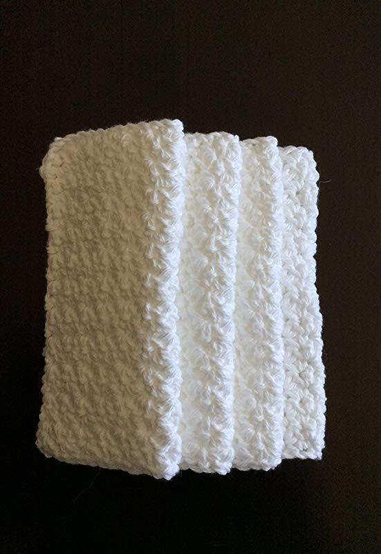 Cotton Crochet Dishcloths Set Of 4 In White 8 By 8 Inches