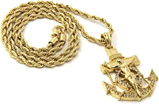 Mens Hip Hop Gold Plated Anchor Jesus Piece Pendant 24