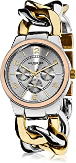 Akribos XXIV Women's Multifunction Sub-Dial Watch - Silver Sunburst Dial - Date Day Subdial - Rose Gold and Silver Case - Silver and Gold Twist Chain Link Bracelet Strap - AK531