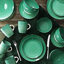 طقم عشاء ايريس من الفخار من راج، 16 قطعة، موديل RSSP29 - لون اخضر