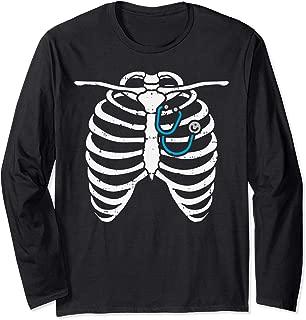 Stethoscope Skeleton Ribs Funny Nurse Halloween Costume Gift Long Sleeve T-Shirt