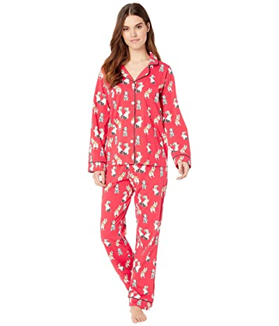 BedHead Pajamas Long Sleeve Classic Notch Collar Pajama Set (Sweet Hearts) Women