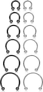 12Pcs 14-16G Stainless Steel Nose Rings Septum Piercing Cartilage Horseshoe Earring Body Piercing 6MM-16MM