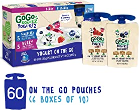 GoGo squeeZ YogurtZ, Variety Pack (Blueberry/Berry), 3 Ounce (60 Count), Low Fat Yogurt Gluten Free, Healthy Snacks, Recloseable, BPA Free Pouches