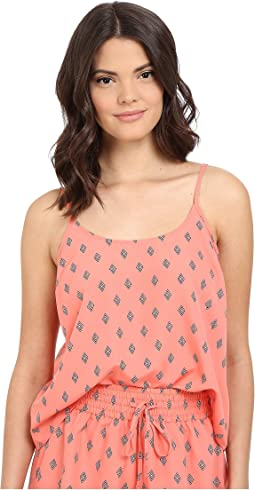 Lucinda Split Diamonds Printed Crepe de Chine Top