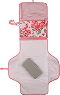 Laura Ashley Baby Portable Changing Pad, Diaper Bag Travel Mat Station, Wipes Case Included, Pink Rosette Print