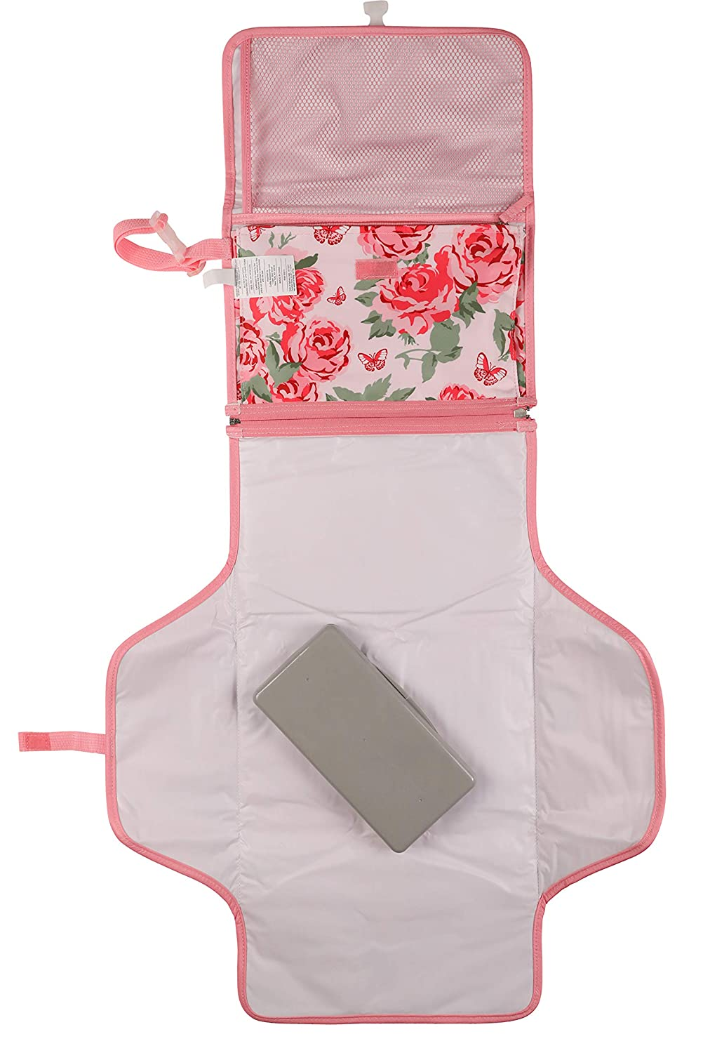 Laura Ashley Baby Portable Changing Pad, Pink Rosette Print