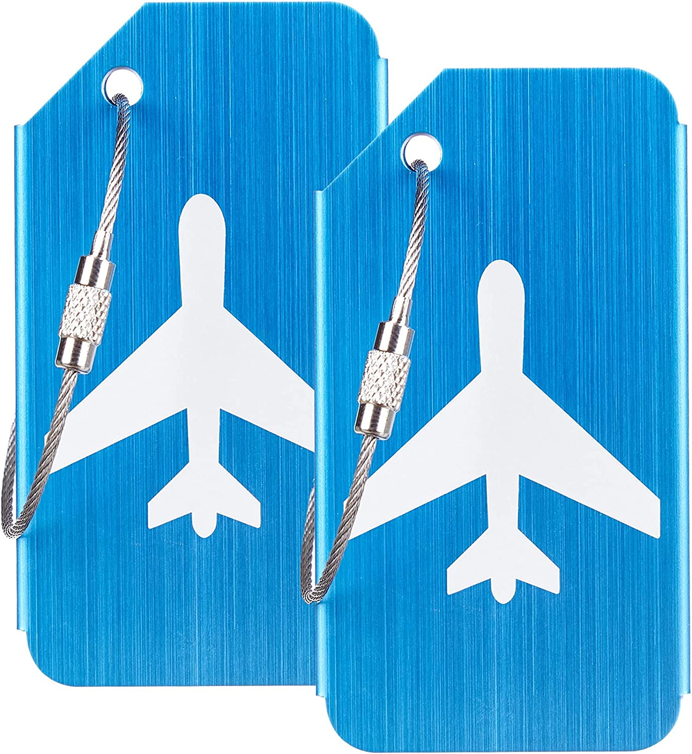Gostwo Leather Chicago Mall Luggage Tags Outlet ☆ Free Shipping Bag Tag 2 Stainless Steel Blue Loop