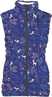 Reindeer and Snowflakes Womens Puffer Vest Bodywarmer Gilet