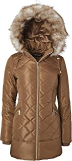 Sportoli Women's Long Down Alternative Puffer Coat Zip-Off Plush Lined Fur Trim Hood
