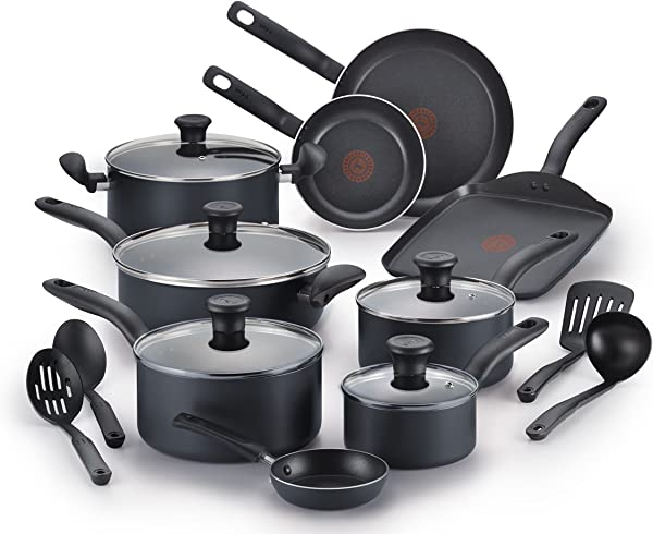 T Fal B208SI64 Initiatives Nonstick Inside And Out Dishwasher Safe Oven Safe Cookware Set 18 Piece Charcoal