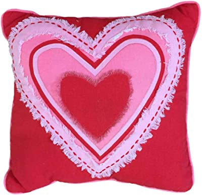 Amazon Com Decor Stitched Applique Red Pink Heart Throw Pillow 16 Accent Love Cushion Home Kitchen