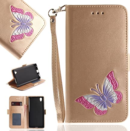 Anlike Sony Xperia L1 (5,5 Zoll) H�lle, Folio PU Leder Flip Brieftasche Schutzh�lle Wallet Case Tasche Cover Handytasche Schutzh�lle Handy Zubeh�r Lederh�lle Handyh�lle mit Bookstyle mit Standfunktion : B�robedarf & Schreibwaren