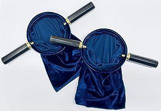 JWG Industries Velveteen Blue Church Religious Offering Bag Pouch, Set of 2