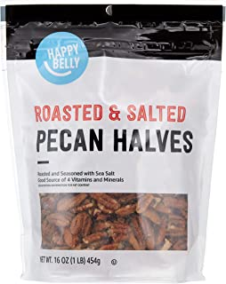 Amazon Brand - Happy Belly Roasted and Salted Pecan Halves, 16 Ounce