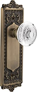 """(antiquebrass, 2-3/8"""") - Nostalgic Warehouse Egg and Dart Privacy Door Knob with Egg and Dart Plate"""