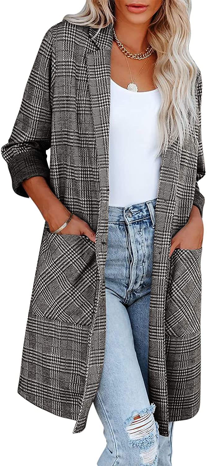 Women's Casual Notch Lapel Single Breasted Plaid Mid Long Trench Pea Coat