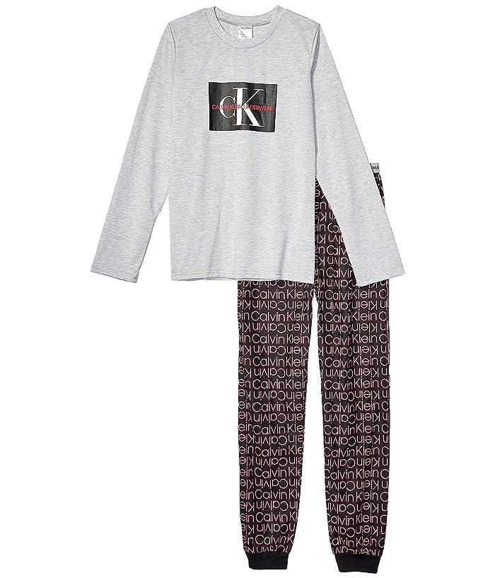 Piece Set w/ Brushed Micro (Little Kids/Big Kids) (Heather Gray/CK Black Outline) Boy's Pajama Sets